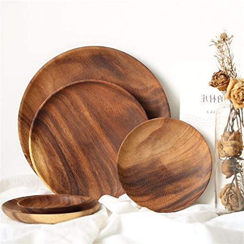 rouroumaoyi Bargain 1 shop pc Round Solid Wood Plate Fruit Whole Acacia