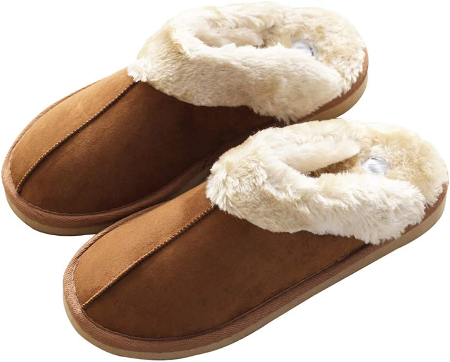 Winter Warm Home Slipper with Thickened Cotton Liner, Winter shoes for Couple, Eva Sole Anti-Slip, Minimalism Design, 3 color Optional,Brown,41 42