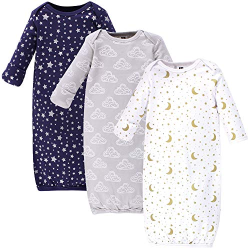 Hudson Baby Unisex Cotton Gowns, Navy Stars & Moon, 0-6 Months