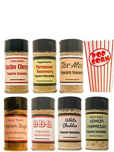 Amazing Deal Premium   POPCORN SEASONING   Variety 7 Pack   8 Authentic POPCORN BAGS included   Nach...