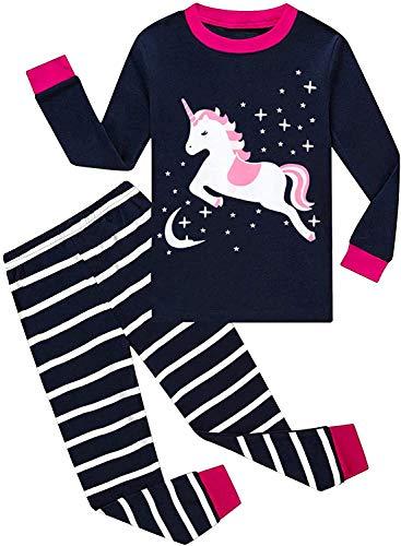 Mädchen Schlafanzug Lang Kinder Zweiteiliger Baumwolle Einhorn Katze Nachtwäsche T-Shirt und Hose
