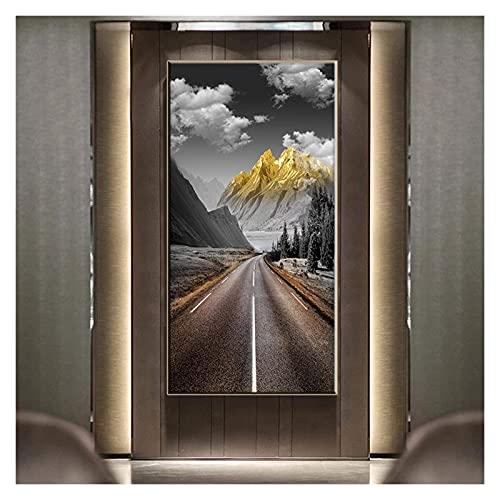 ZHANGKAIXUAN Nordic Golden Mountain Peak Paisaje Lienzo Pintura Sala de Estar Art Cartel de la Pared Decoración de la casa Imagen de la Pared 20x40cm sin Marco (Color : No Frame, Size : 70x140cm)