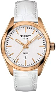 Tissot PR100 T101.210.36.031.01 Women's Watch White Leather band Rose Gold Stainless Steel