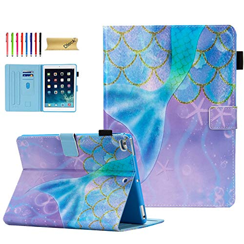 iPad Case 9.7 Inch 2017 2018/iPad Air Case/iPad Air 2 Case, Dteck Compatible with Apple iPad 6th/5th Generation Cases with Pencil Holder, Auto Sleep/Wake, Multi-Angle Stand Cover - Mermaid