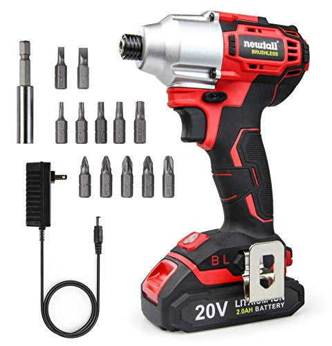 newtall 20V Brushless Impact Driver,1/4quot hex With LED working light 2000mAh battery,12 pcs 25mm bits amp 1 pc 60mm magnetic holder