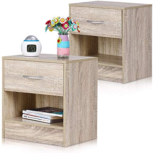 Deuba Nachttisch 2er Set Eiche Schublade mit Griff & Ablagefach 41x39x28cm Holz Nachtkommode Nachtkonsole Nachtschrank