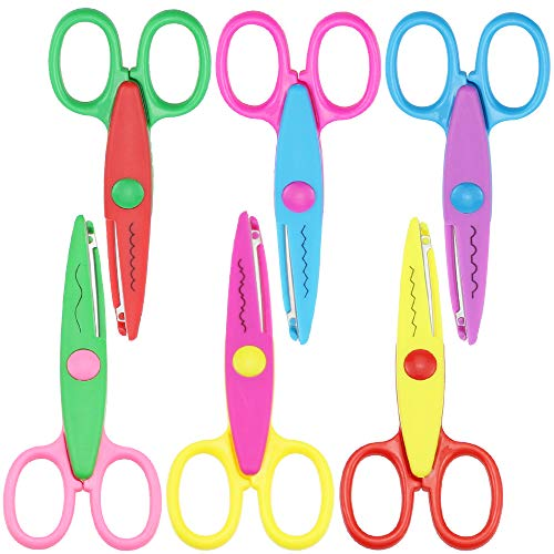 6 tijeras de borde de encaje de colores surtidos Tijeras creativas Utilizado para Corte de Papel para Niños Corte de Papel en Color Diseño Creativo Manualidades