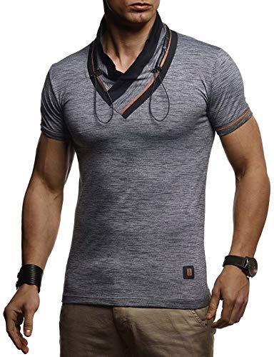 LEIF NELSON Men's Stylish V-Neck T-Shirt Sweatshirt Hoodie Sweater Jacket Polo Slim Fit LN4860; X-Large, Anthracite