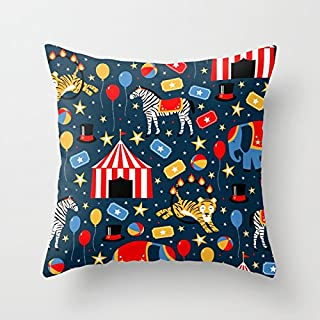 FJPT Throw Pillow Cover Under The Big Top Circus Troupe Indoor Creative Decorations for Sofa Bed Square Stand Size Pillowcase 22x22 Inch
