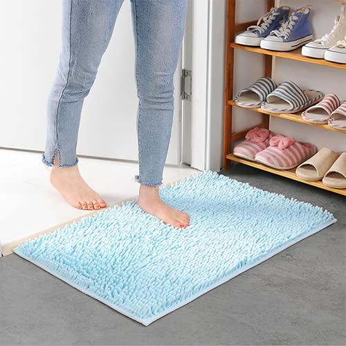Xiaoxian Alfombra antideslizante de felpilla de microfibra con absorción de agua, lavable a máquina (50 x 80, azul cielo)