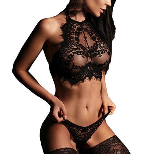 Yesmile Sexy Ropa Interior Conjuntos de Lencería Mujer Encaje Ropa de Dormir Club Ropa Sujetador +Panty Conjunto Babydoll (L, Negro)