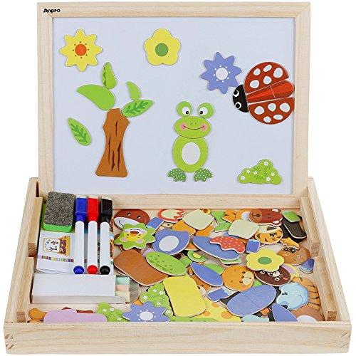Anpro Magnetisches Holzpuzzle mit Doppelseitiger Tafel, 110 Stück pädagogisches Holzspielzeug Lernspielzeug...