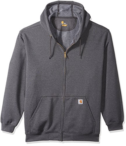 Carhartt Men's Big Big & Tall Midweight Zip Front Hooded Sweatshirt K122, Carbon Heather, 3X-Large/Tall