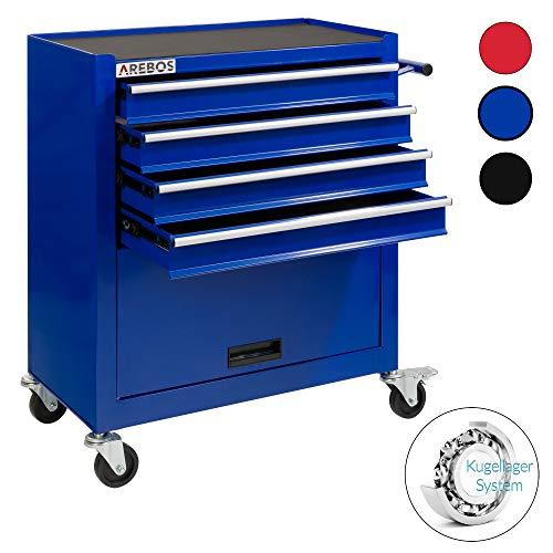 Arebos Werkstattwagen 4 Fächer + großes Fach/mit Antirutschmatten / 2 Rollen mit Feststellbremse (Blau)
