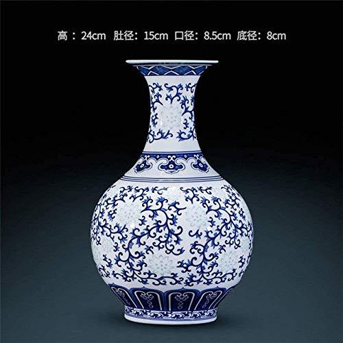 Vase Decoration China Decorated Ceramic Jingdezhen Rice-Pattern Porcelain Antique Blue-and-White Fine Bone,C,Colour:B (Color : A)
