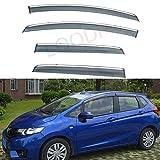 LQQDP 4pcs Smoke Tint With Chrome Trim Outside Mount Tape On/Clip On Style PVC Sun Rain Guard Vent Shade Window Visors Fit 15-19 Honda Fit 3-Door Hatchback