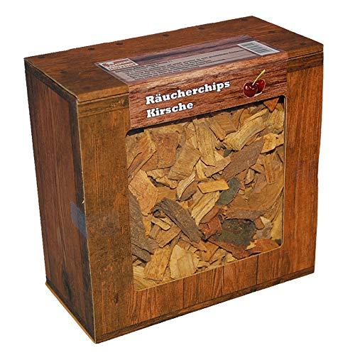 Räucherchips Kirsche Box 3 Liter – Aromatische Wood Chips für Grill Smoker BBQ, 100{89dd5c9339313e3e625dfee4d364b9ba2e16b1ddf68f23c8a0ab5386cd53ad10} Natürlich, Qualitätsgeprüft direkt vom Holzhof