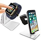 Orzly Duo Stand para Apple Watch - Soporte de escritorio de aluminio permitiendo una base de carga totalmente funcional tanto para AppleWatch como para iPhone simultáneamente (el cargador Grommet y el cable Lightning no están incluidos) – PLATEADO
