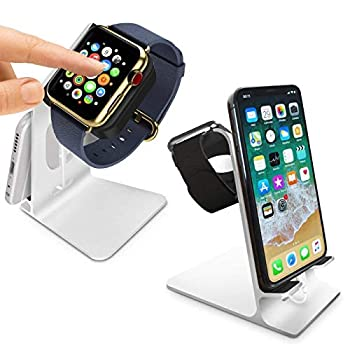 Orzly Duo Stand for Apple Watch - Aluminium Desk Stand Becomes a Fully Functional Charging Dock for Both AppleWatch & iPhone Simultaneously  Grommet Charger & Lightning Cable not Included  - Silver