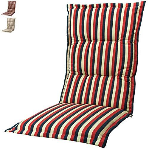 Kopu®-kussen hoge rug Lines Red | Tuinkussen voor standenstoelen | Red tuinkussen 125 x 50 cm | Gestreept dessin in drie kleuren | Stevig schuim voor extra comfort