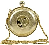 Hearty Trendy Round Matalic Evening Bag Woven Shoulder Strap Purse Box Clutch (gold)