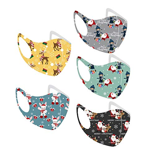 5 pcs Upgrade Children Washable Breathable Mouth and Nose Protection Happy Santas Printed Mouthguard Multi-puepose with Different Motif (H)
