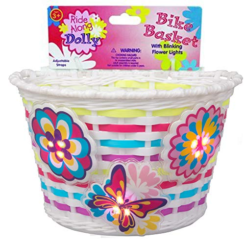 Ride Along Dolly Bike Basket with Lightups - Kid s Bicycle Basket with Three Motion Activated Blinking Flowers