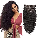 Clip in Hair Extensions Synthetic hair Clip in 140G 7Pcs/Lot Japanese Heat Resistant Fiber Hairpieces Deep Wave/ Body Wave/Straight hair (Deep Wave, Dark Brown 2#)