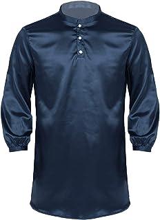 CHICTRY Mens Robe Pajamas Silk Satin Long Sleeve Bathrobe Lounge Arabe Kurtas Cross Dresser Dress Shirt