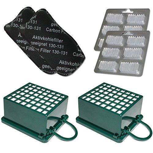 MohMus Filterset 2X HEPA Filter + 2X Kohlefilter + 12 Duftsteine geeignet Für Vorwerk Kobold VK 130, 131, VK130, VK131 SC