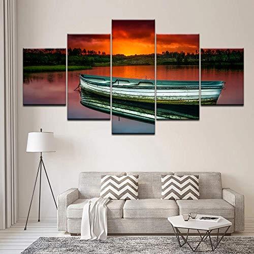 GUANGWEI 5 Piezas Lienzo Pintura Moderna Etiqueta De La Pared Lago Al Atardecer, Canoa Pintura De Arte De Impresión HD Y Decoración del Hogar Decoración De Muebles Pintura De Arte De Pared 3D