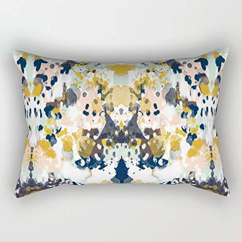 N/A Funda de cojín Sloane Pintura abstracta en colores frescos y modernos, azul marino, menta, rubor, crema, blanco y dorado, rectangular, para decoración del hogar, 50 x 76 cm