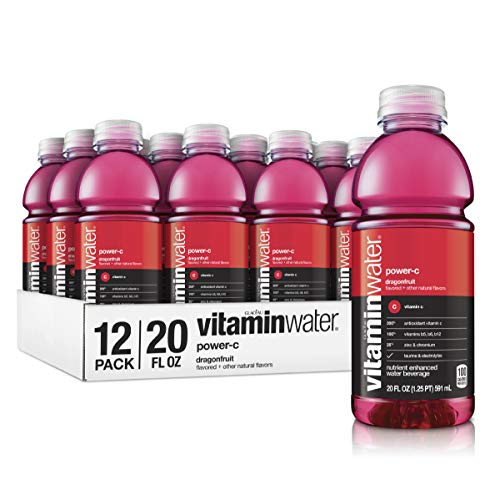 vitaminwater Electrolyte Enhanced water with Vitamins, Power-C Dragon Fruit, 20 Fluid Ounce (Pack of 12)