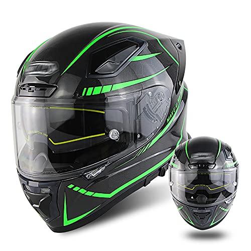 Casco de motocicleta con cubierta completa (impresión de rayas) de doble lente para hombres y mujeres, cuatro estaciones, fibra de carbono, motocicleta, scooter, crucero, helicóptero, casco je