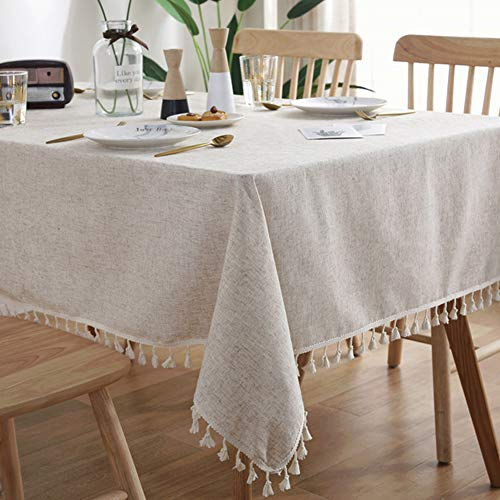 AMZALI Washable Cotton Linen Tablecloths Fabric Tassel Tablecloth Dust-Proof Table Cover for Kitchen Dinning Tabletop Home Decoration Everyday Use (Rectangle/Oblong, 55 x 102 Inch, Linen)
