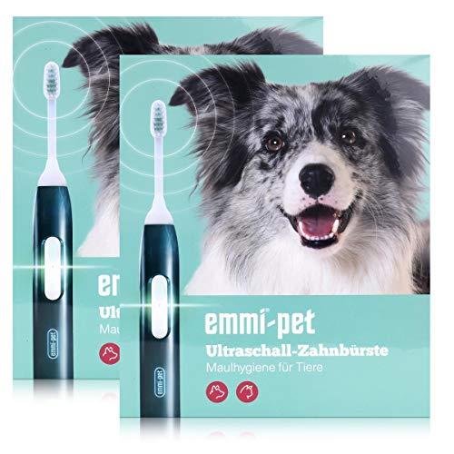 emmi-pet Ultraschall-Zahnbürste - Maulhygiene für Tiere - Geräusch und Vibrationslos (2er Pack)