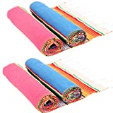 HELAKU Mexican Table Runner Mexican Serape Blanket Fabric Serape Runners for Fiesta Party,14X108 (Pack 2 Pink+ Pack 2 Blue)