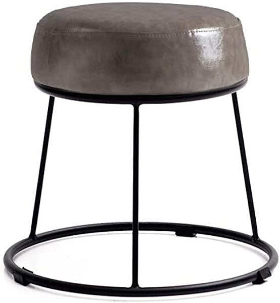 Carl Artbay Footstool PU Bright Gray Cushion High 36cm Soft Surface Thickening Household Stool Dressing Stool Round Stool Small Bench Iron Stool Home