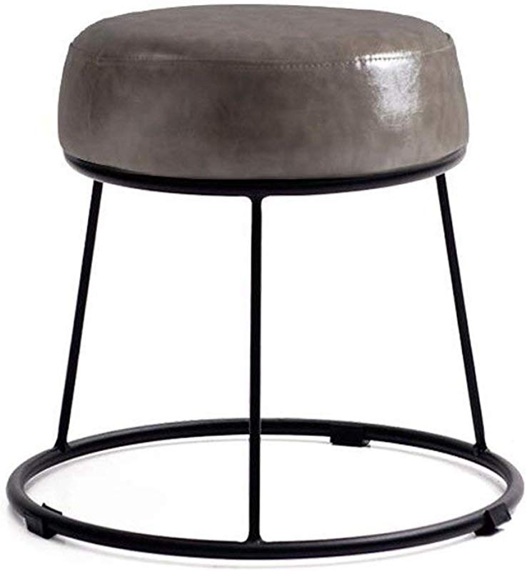Carl Artbay Footstool PU Bright Gray Cushion High 36cm Soft Surface Thickening Household Stool Dressing Stool Round Stool Small Bench Iron Stool Home