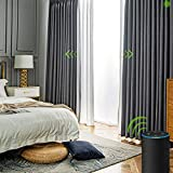 Yoolax Motorized Electric Blackout Curtain Texture Thermal Insulated Drapes Compatible with Alexa and Google Home Remote Control Smart Curtain Customized (Plain Grey)