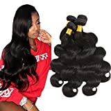 Huarisi Brazilian Body Wave 4 Bundles 24 26 28 30 Inches Human Hiar 10A Grade Virgin Hair 100% Human Hair 400g Mink Natural Color Prime for Black Women