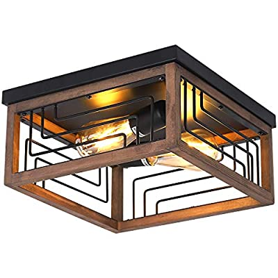 Farmhouse Flush Mount Ceiling Light Fixture 2-Light Wood Square Ceiling Light, Retro Industrial Close to Ceiling Lighting Rustic Island Light for Hallway Bedroom Kitchen Entryway Laundry Room Foyer