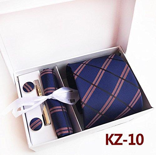 WUNDEPYTIE Krawatte Polyester-Business-Businesskleid Britischer quadratischer Schal-Manschettenknopf-Set, Dunkelblau}