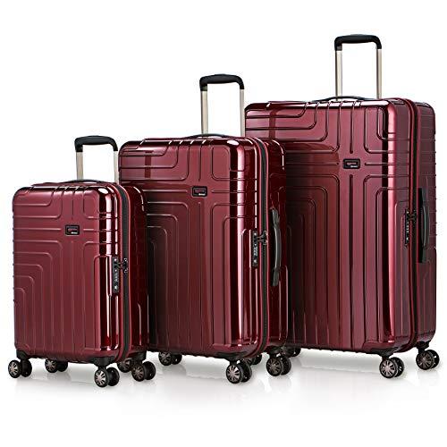 Eminent Koffer-Set Helios 3-teilig 1x Handgepäck Koffer Gr. S 1x Koffer Hartschale Größe M + L super leicht 4 Doppelrollen 360° Extra-Kantenschutz großes Volumen Rot