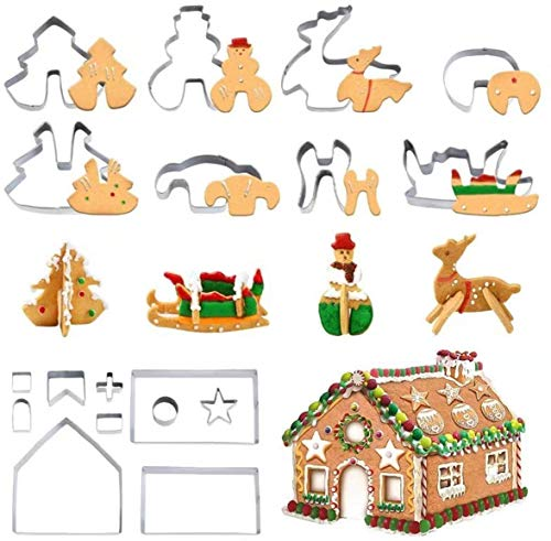 18PCS 3D DIY Stainless Steel Christmas Series Cookie Cutter Gingerbread house Biscuit Mold Fondant Cake Decorating Tools,Including Christmas Tree, Snowman, Reindeer, Sled Shapes,
