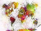 ThinkingPower Leinwand Bilder Weltkarte Graffiti Kunst Leinwand Gemälde an der Wand Kunst Poster & Drucke Nordische Kunst Bunte Weltkartenbilder 60x90cm