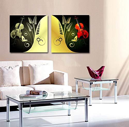 NFXOC Abstracto Moderno decoración del hogar Impresiones de Carteles Arte de la Pared música Guitarra Lienzo Pintura para Sala de Estar decoración de niños 11.8'x11.8 (30x30cm) x2 sin Marco