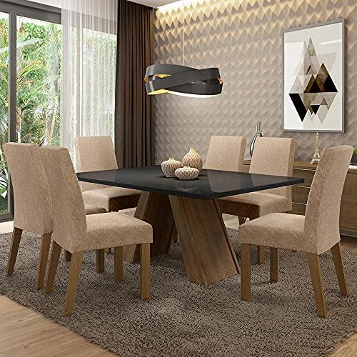 Sala de Jantar Madesa Mirela Mesa Tampo de Vidro com 6 Cadeiras - Rustic/preto/imperial