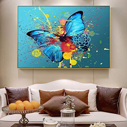 Schmetterling Malerei auf Graffiti Wand abstrakte Schmetterling Kunst Wand Leinwand Moderne Tier Wohnzimmer Malerei rahmenlose Malerei 40cmX60cm