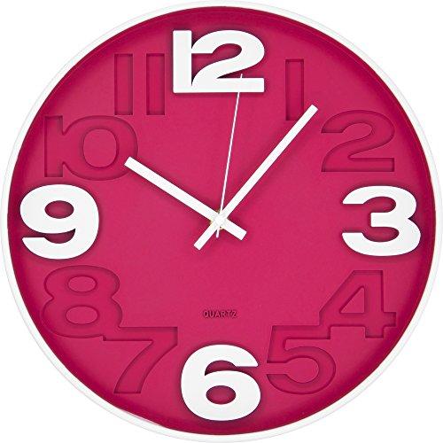 BUVU ZH09827B Horloge Murale 30 x 30 x 5 cm Orange Plastique